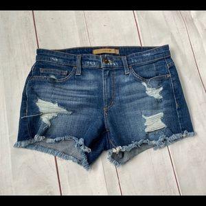 Joes Distressed Frayed Hem Jean Shorts. Size 26